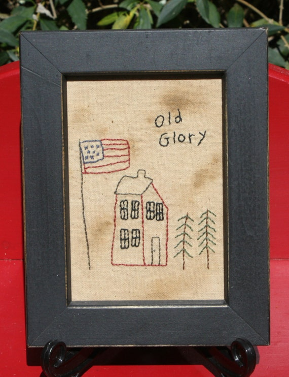 Old Glory Framed Primitive Patriotic Stitchery