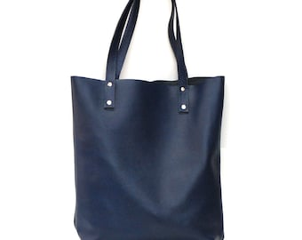 Indigo blue leather tote bag // Simple market tote bag with detachable bow