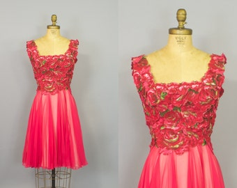 In the Garden Dress / Hot Pink Chiffon Dress / 60s Dress