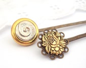Nature Inspired Bobby Pins, Silver and Gold Shell, Vintage Button Hair Slides
