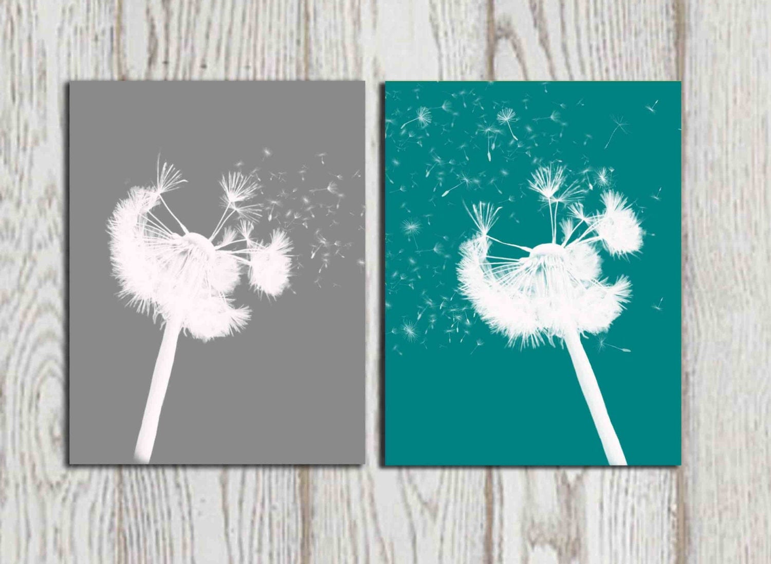 Teal Gray Home Decor Print Teal Dandelion Wall Art Modern