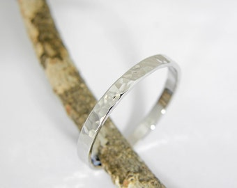 Wedding rings.2.5 x 1.5mm.14k white gold wedding ring in Hammered shiny finish.Hand forged wedding rings.