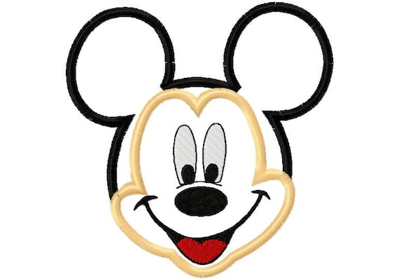 Mr. Mouse Full Head Applique Design Machine Embroidery Design 4x4 and 5x7 mickey