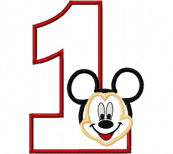 Mr. Mouse Birthday Number One First Applique Design Applique Machine Embroidery Design