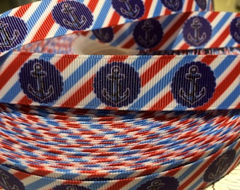 "3 yards 7/8"" Nautical ANCHOR and Diagonal Stripe Grosgrain Ribbon"