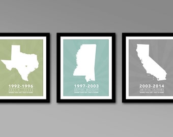 Multiple States Residence Wall Art Series – Personalized Printable Map Art – All 50 States – For military families & cross country families