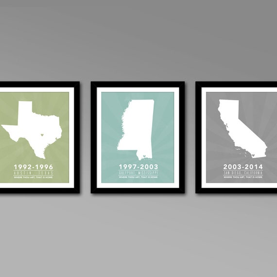 Multiple States Residence Wall Art Series Personalized