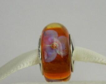 Light Purple and Orange Flower Lampwork Glass Bead Handmade European Charm by Momentsprecieux