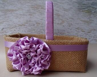 Burlap Flower Girl Basket - Purple Lavendar Lilac Plum Wedding - Rhinestone Diamond Crystal - Flowergirl Ringbearer - Purple Lavendar Rustic