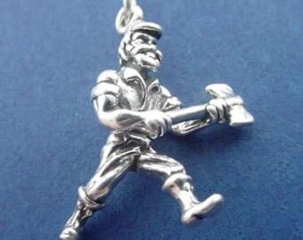 LUMBERJACK Charm, Woodsman, Logger with AXE, Paul Bunyan .925 Sterling Silver Charm