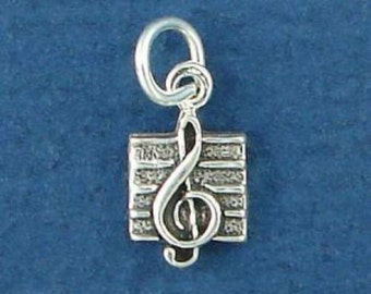 TREBLE Clef Charm, Music SYMBOL, MINIATURE Small .925 Sterling Silver Charm