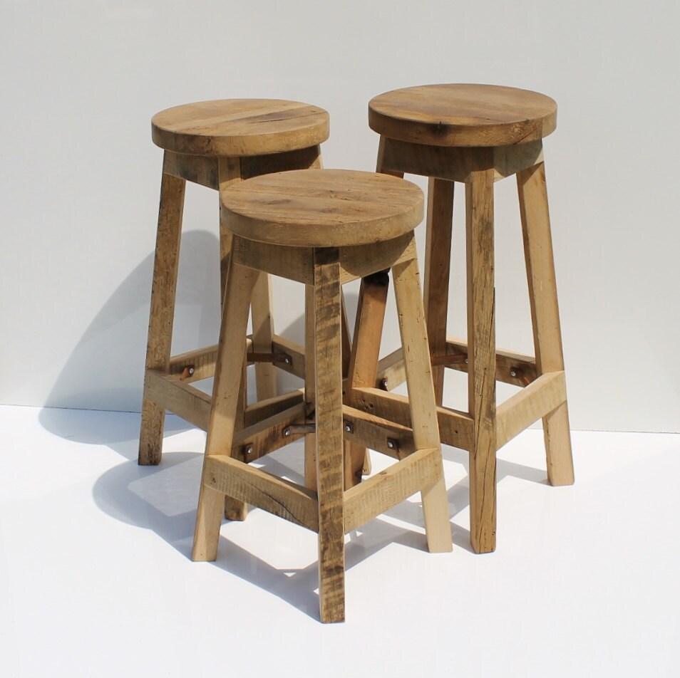 Bar stool rustic reclaimed barn wood raw w round top