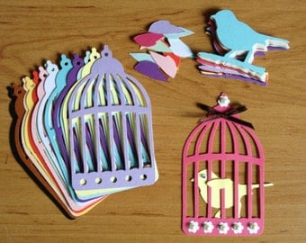 15 Tim Hotlz Bird cage/ caged bird die cuts for cards toppers cardmaking scrapbooking wedding ready to post
