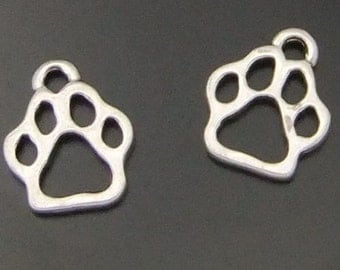 5 Paw Print Charms Animal Paw Pendants Dog Cat Bear Print Small Charms 4142