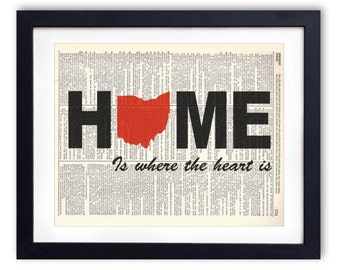 Ohio - Home Is Where The Heart Is Upcycled Dictionary Art Print Repurposed Book Print Recycled Antique Dictionary Page - Buy 2 Get 1 FREE