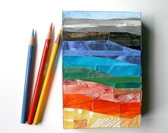 Mosaic Landscape Art- Wood Block- Paper Art- Southwestern- 4x6x1- Mixed Media- Orange, Turquoise, Grey, Blue, Yellow