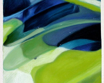 Abstract Pastel Drawing- Navy Blue, Lime Green, White- Lobe- Original Pastel on Paper- 6x6