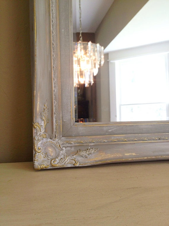 On Hold Gray Chalk Paint Gold Wood Frame Shabby Chic Wall