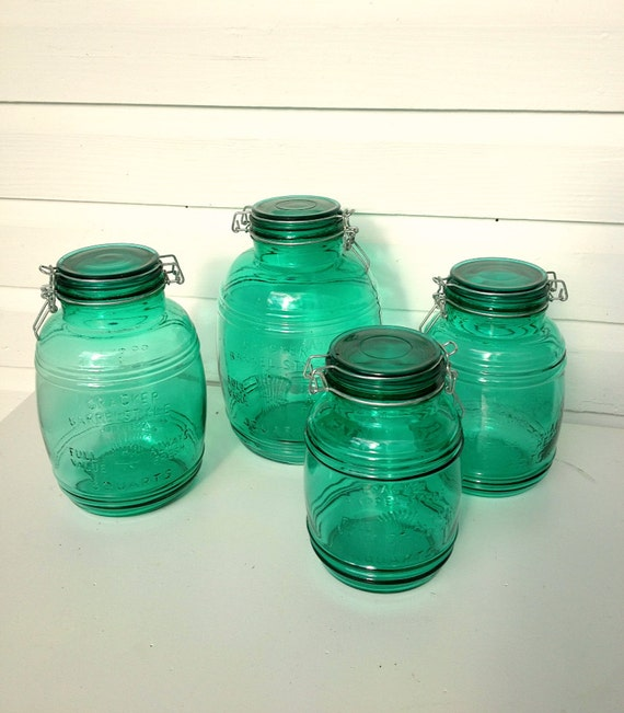 Vintage turquoise glass canisters set 4 blue green kitchen - Blue glass kitchen canisters ...