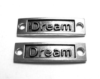 2 Dream Connectors, Dream Connector, Dream for Jewelry, Connectors with Words, Message Connectors, Dream Charm, Word Connectors SC0052