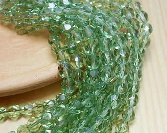6mm Prairie Green Crystal Czech Beads, Light Green Beads, Peridot Beads, 6mm Czech Crystals, Crystal Beads, Faceted Beads D-B15