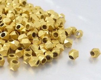 Faceted cube bead, 2.5mm, solid metal bead, matte gold plated,small hole bead, light weight - 50 pcs/ order