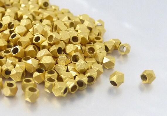 Matte Gold - 2.5mm Faceted Beads, Satin Gold Spacer, Metal Diamond Cut Bead, Corneless Cubes - 50 pcs/ order