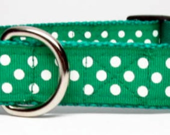 Green and White Polka Dot Dog Collar Adjustable Quick Release  Medium, Large, Extra Large 1 inch