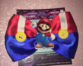 Mario brothers hair bow