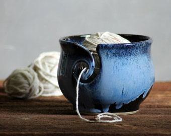 Yarn Bowl hand thrown stoneware Midnight Blue black knitting crochet