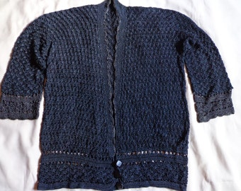1920's Cardigan sweater black grey trim