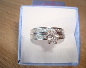 Beautiful Diamond Cut White Topaz 925 Sterling Silver Engagement / Wedding Ring Set