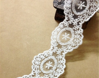 white Cotton Lace Trim / off white  / 4cm wide / lace ribbon for wedding/DIY sewing material