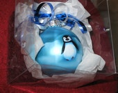 Blue Penguin Glass Ornament