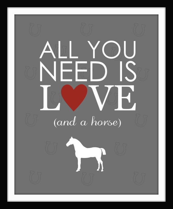 Wall Decor All You Need Is Love : All you need is love and a horse print wall art home decor