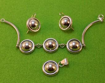 Elegant Sterling Silver set. Earrings, Necklace with Bracelet.