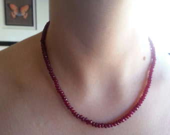 Top quality Ruby Necklace . Gift for Her . Natural Ruby Beads . Ruby Necklace .
