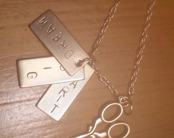 Hand stamped personalized message scissor necklace