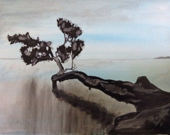 "16""x20"" Abstract Painting of Bonsai Tree"