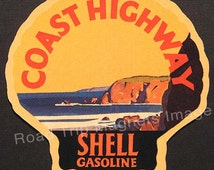 Shell Gasoline 1920s Travel Decal Magnet for COAST HIGHWAY. Accurate reproduction & hand cut in shape as designed. Nice Travel Decal Art.