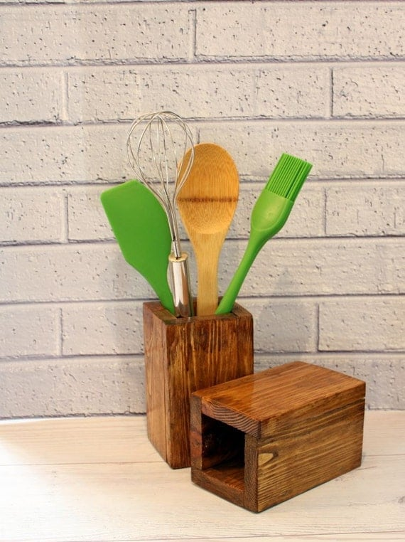 Items Similar To Wooden Kitchen Utensil Holder Cooking