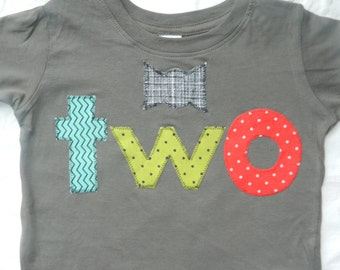 2 Year Old Birthday Shirt, Toddler Boy Birthday Shirt with bow tie and red-teal-green