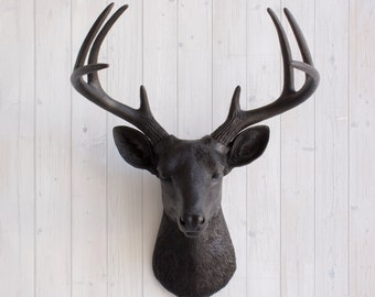 Black Deer Head by Wall Charmers™ Faux Taxidermy - Faux Deer Head Wall Mount Fauxidermy Wall Decor Hanging Animal Head Stag Decor Buck Head