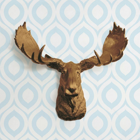 The alberta in bronze faux moose head fake taxidermy resin - Fake moose head mount ...