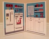 A full color, two page folding kitchen for an eleven inch doll.