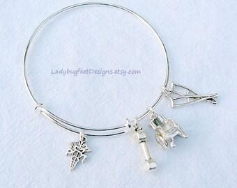physical therapist adjustable charm bangle nurse bracelet