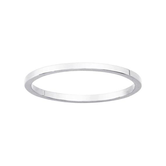 thin 14k 1mm wedding band stack ring white gold sizes
