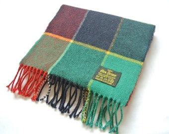 Vintage Glen Prince Lambswool Scarf Checks Pattern Made In Scotland
