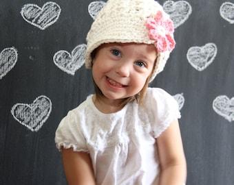 Girl's Newsboy Hat, Crochet Newsboy Hat, kids hat,  hat with flower, baby hat, cotton hat, , sun hat, spring, summer