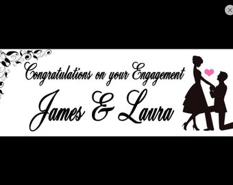 Personalised engagement party banners. Individual banners or banner packs for venue decoration